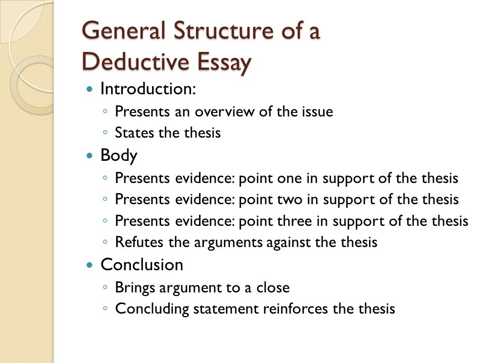chapter understanding logic and recognizing logical fallacies  general structure of a deductive essay