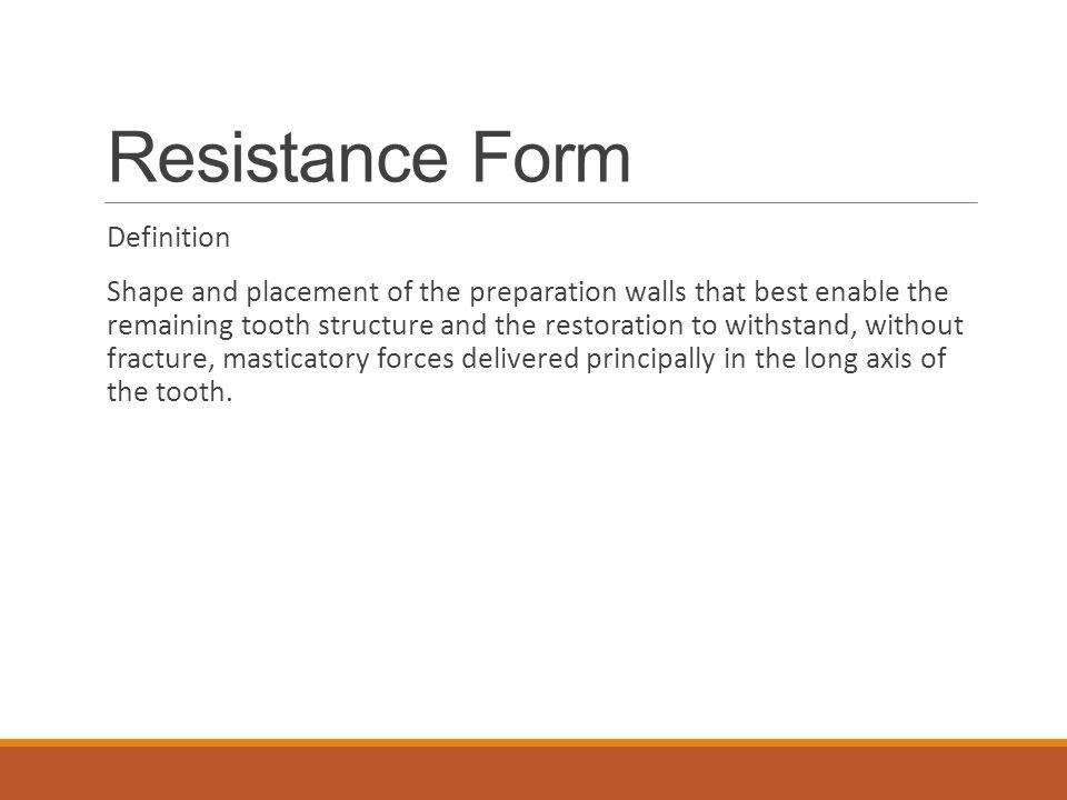 Resistance Form Definition