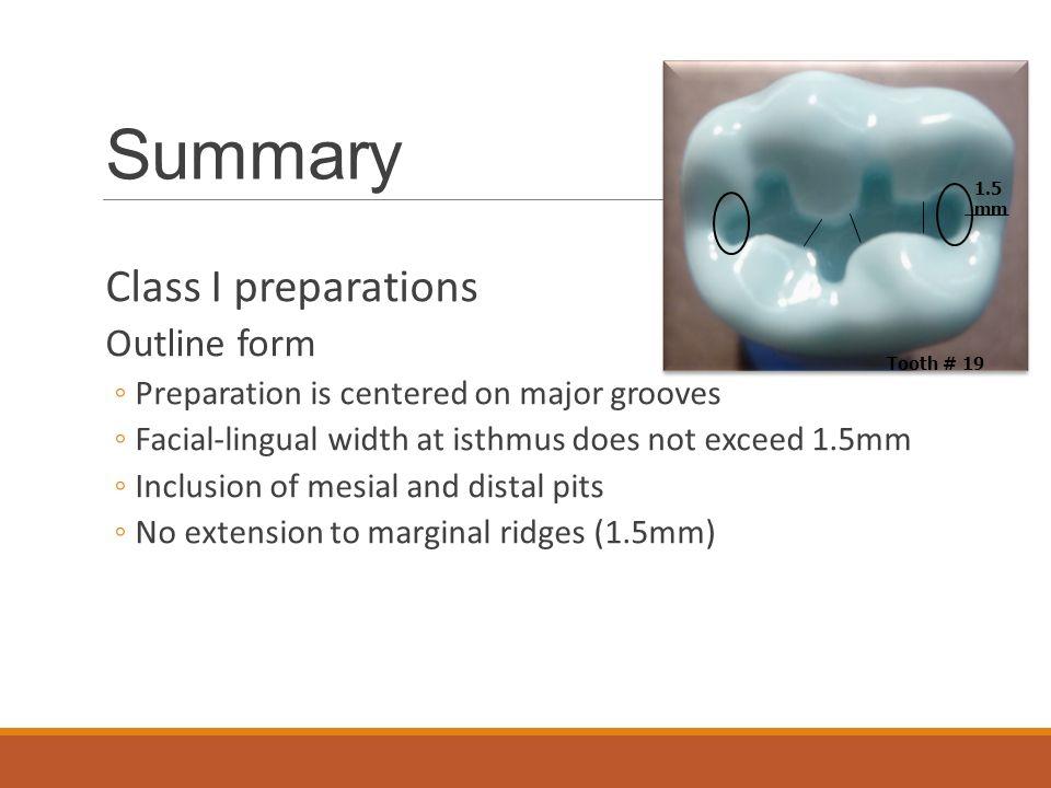 Summary Class I preparations Outline form