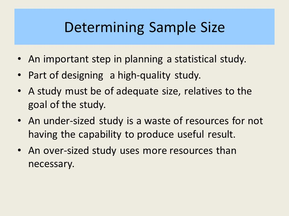 CALCULATING SAMPLE SIZE - ppt download