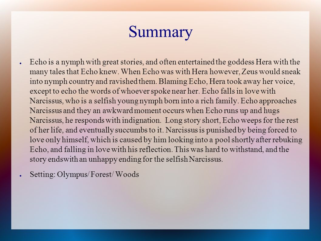 story of narcissus summary