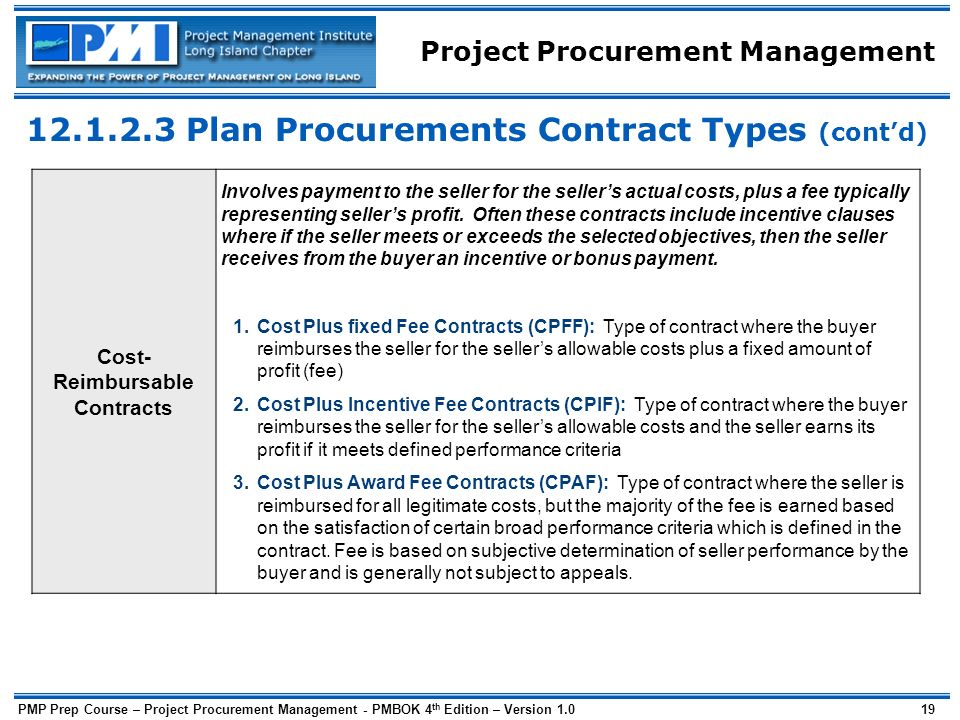 Procurement management ppt download for Cost plus contract example