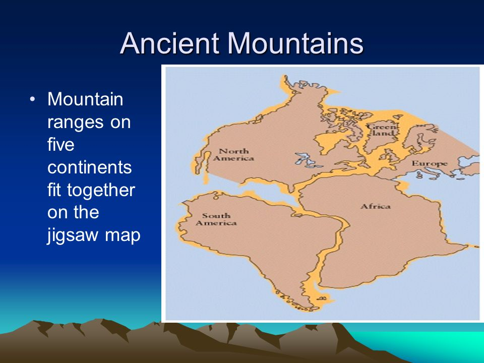 The theory of continental drift ppt video online download 8 ancient mountains mountain ranges on five continents fit together on the jigsaw map gumiabroncs Gallery