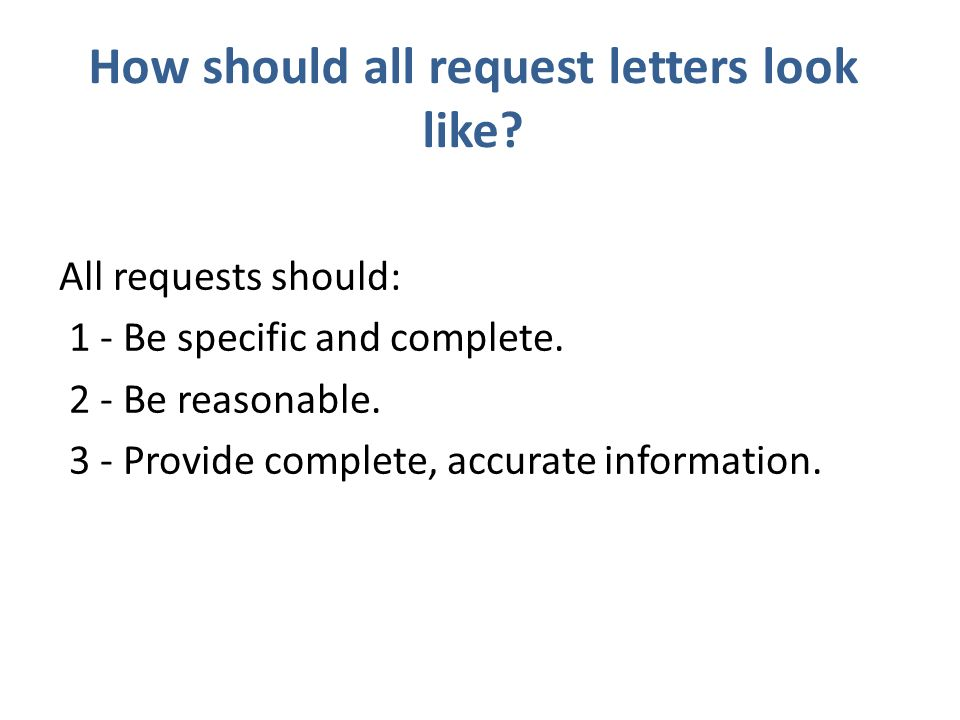 letters of request for information