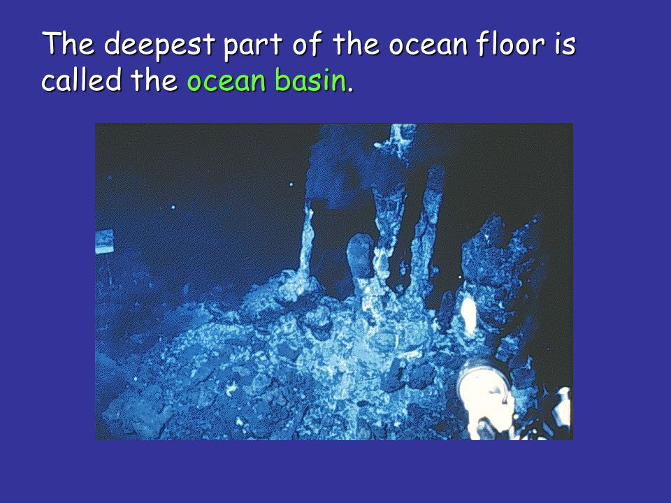 The deepest part of the ocean floor is called the ocean basin.
