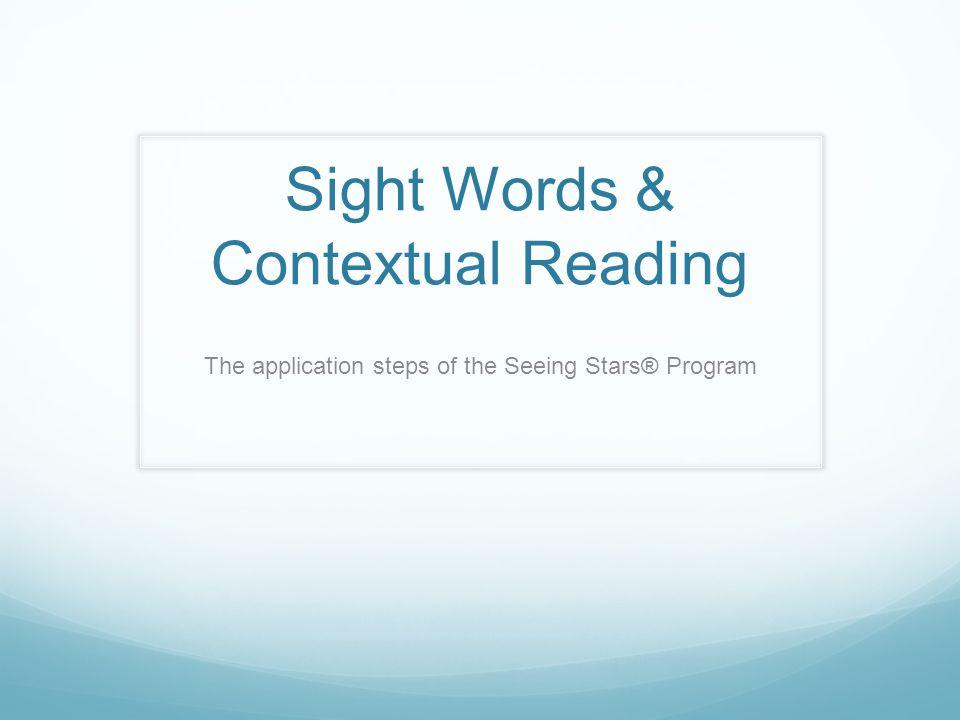 Sight Words & Contextual Reading
