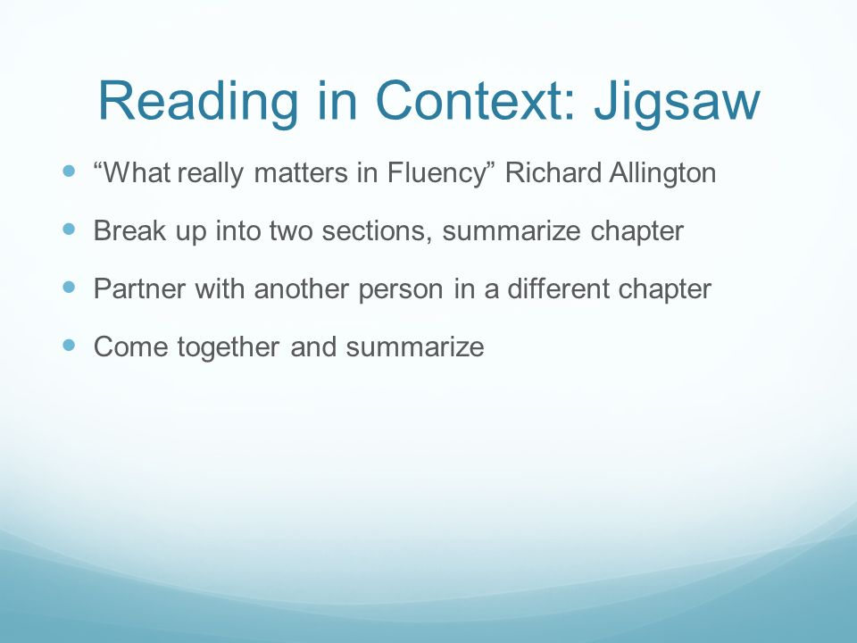 Reading in Context: Jigsaw
