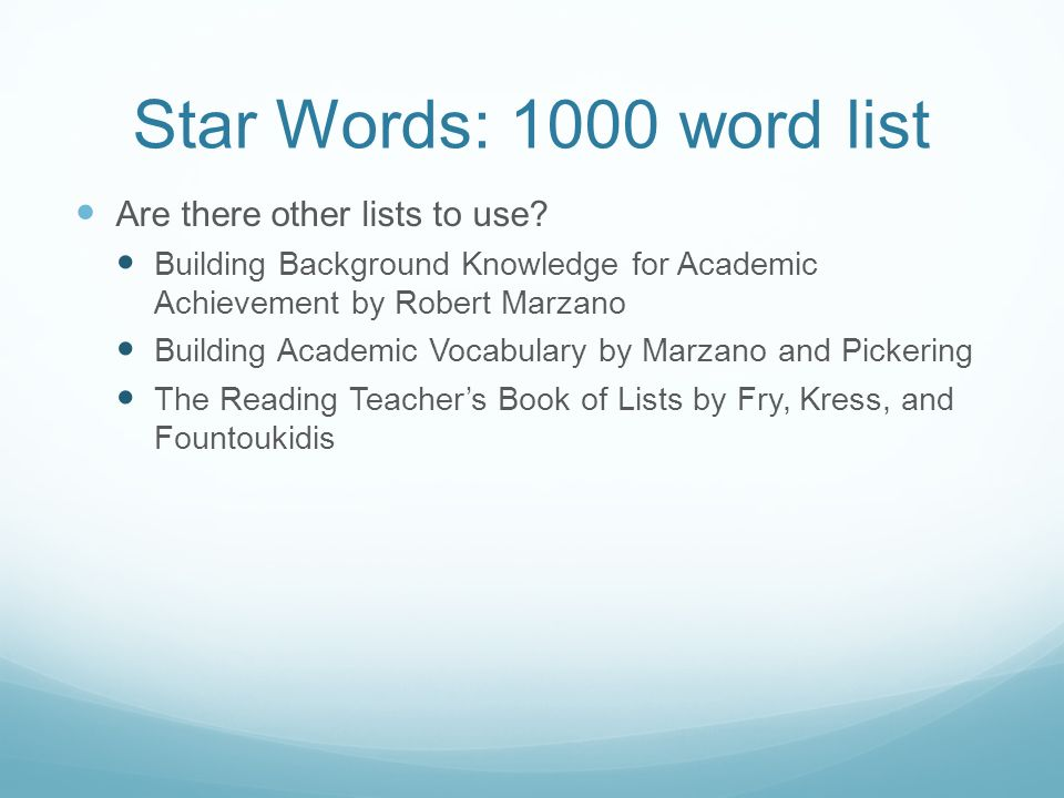 Star Words: 1000 word list Are there other lists to use