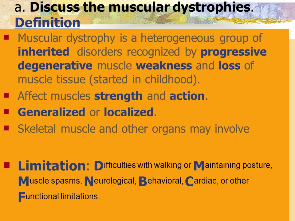 an overview of the muscular dystrophy and a group of muscle diseases Muscular dystrophy is a group of genetic diseases that causes muscles to progressively weaken and lose their ability to function it can affect muscles in the legs, arms, eyelids, throat, diaphragm and face.