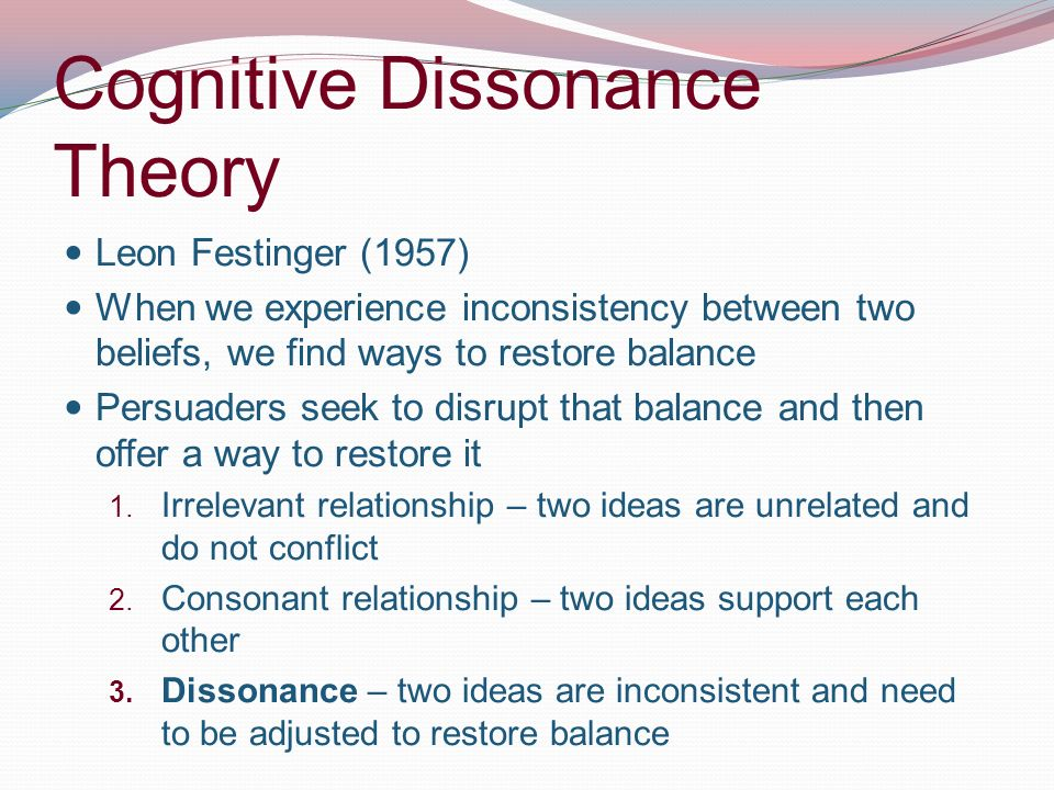an analysis of the theory of cognitive dissonance by leon festinger In a theory of cognitive dissonance (1957), leon  and the theory of cognitive dissonance (festinger)  although the method of cost-benefit analysis.