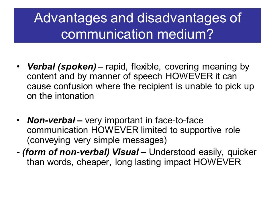 merits and demerits of non verbal communication Non-verbal communication 1 in presentations 2 outline non verbal communication characteristics of nonverbal communication forms of nonverbal communication advantages and disadvantages significance guidelines conclusion.
