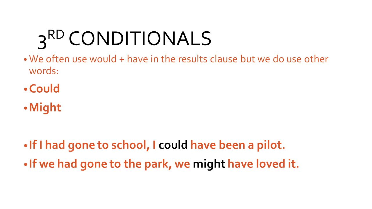 3RD CONDITIONALS Could Might