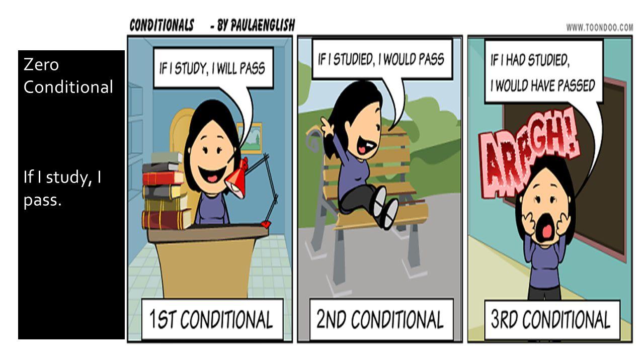 Zero Conditional If I study, I pass.