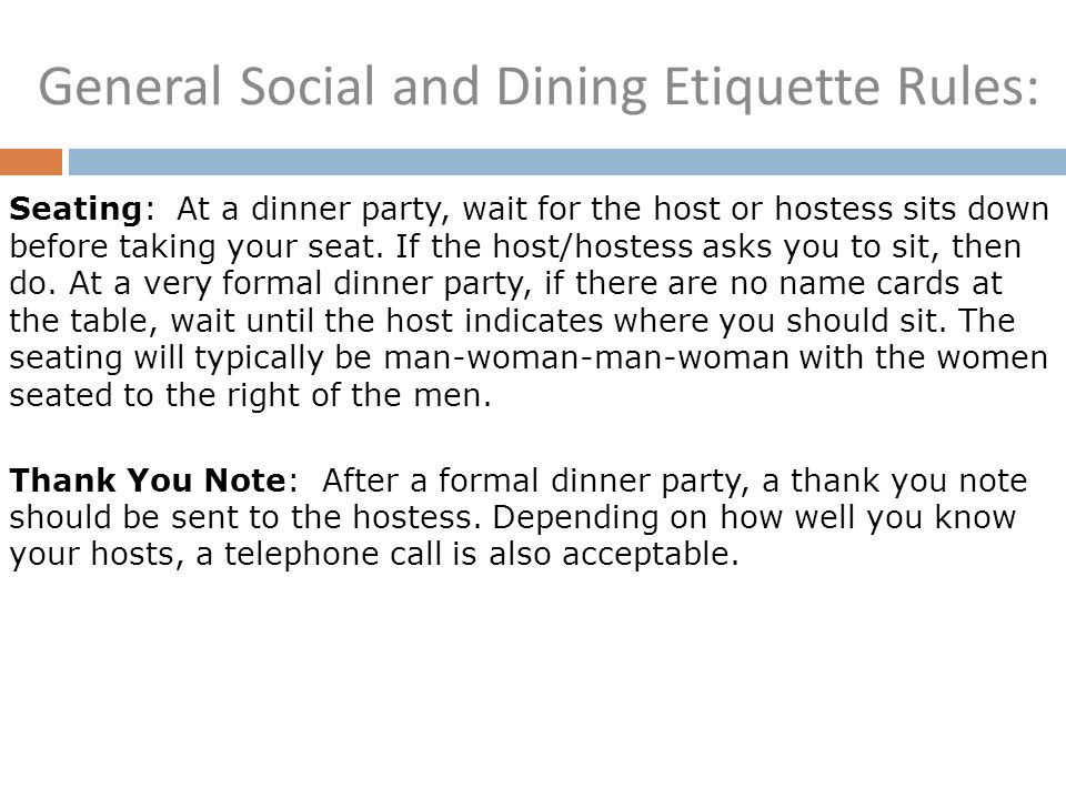 General Social And Dining Etiquette Rules