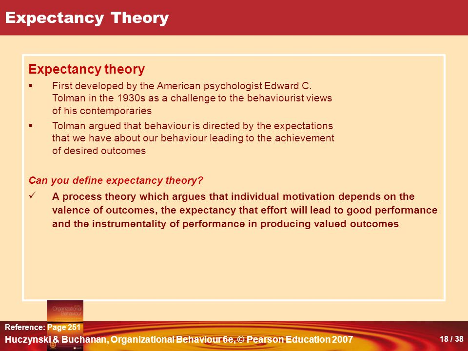 18 Expectancy Theory Expectancy Theory