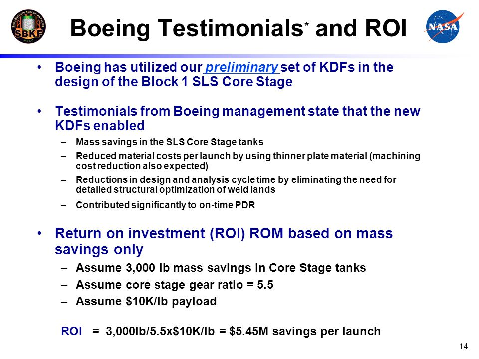 Boeing Testimonials* and ROI