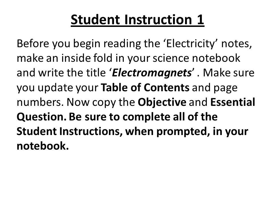 Student Instruction 1