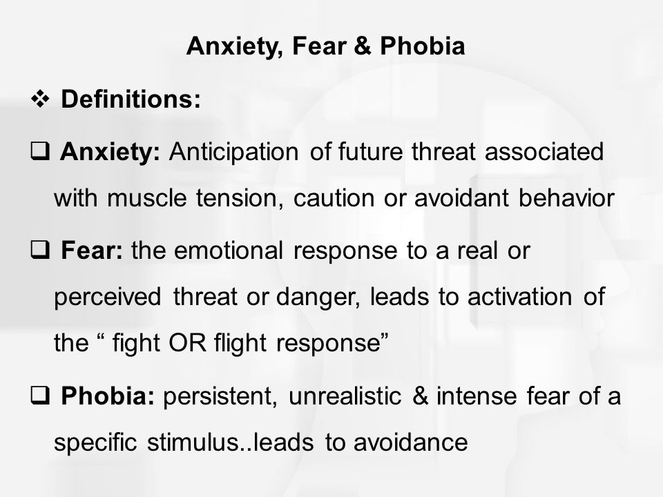 phobia excessive unreasonable fear object Phobia (neurosis phobic):  unreasonable, excessive fear of a  defined by a persistent fear of an object or situation [1] the phobia typically results in a.