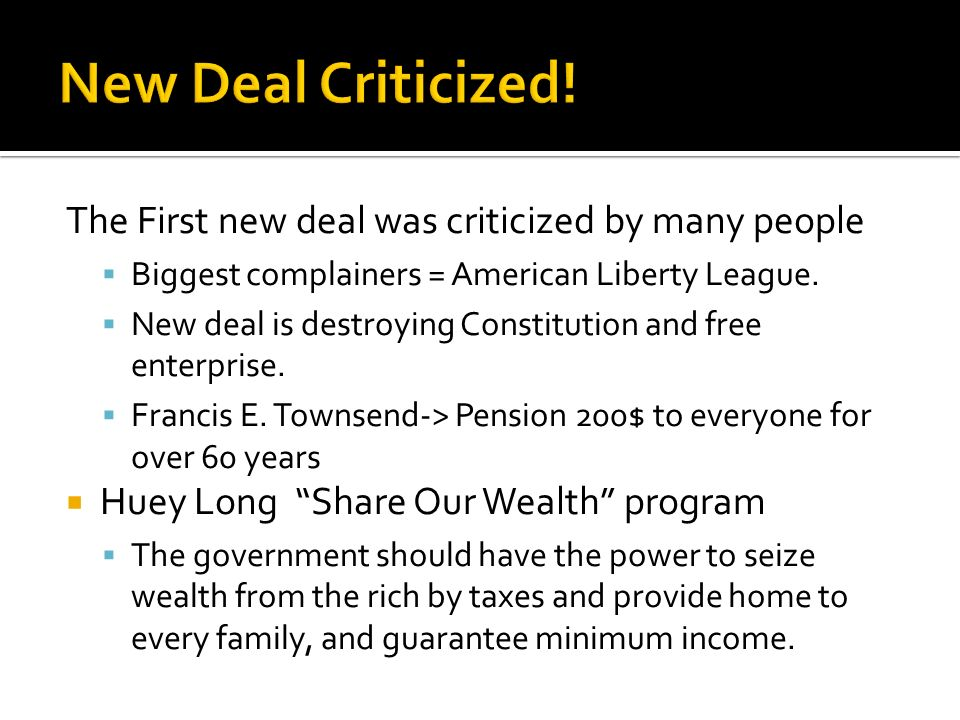 new deal conclusion Category: american history title: fdr's new deal.