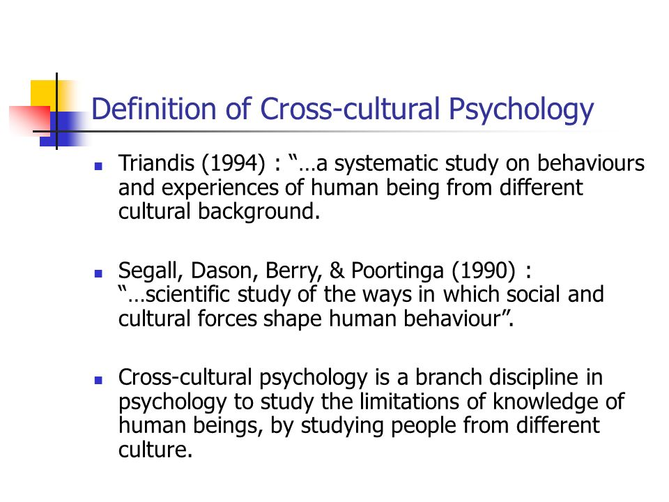 introduction to cross cultural psychology Psychology by introducing the idea of 'positive cross-cultural  after this  introduction, the first main section of the paper identifies work that.