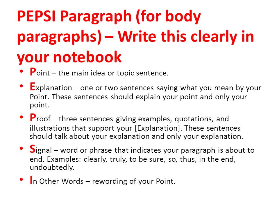 how to write two types of main body paragraph