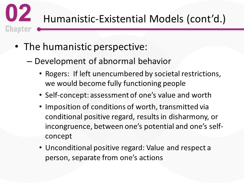 the humanistic existential perspective essay Free essay: humanistic/existential perspective of personality christine bernardo psych 405 december 3, 2012 thom mote humanistic/existential perspective of.