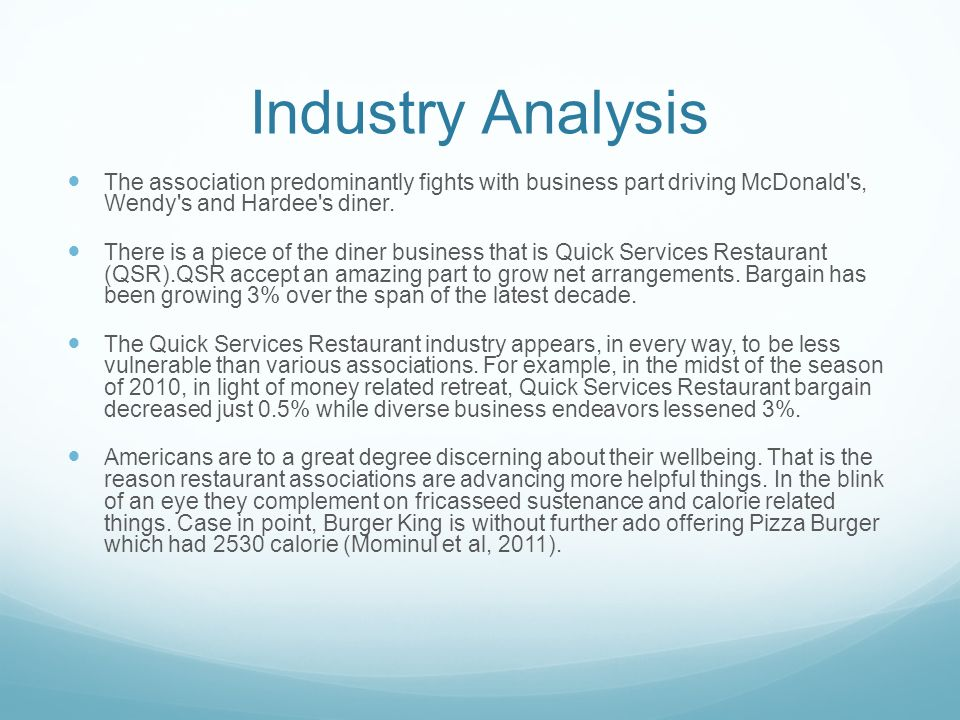Fast food industry analysis in pakistan