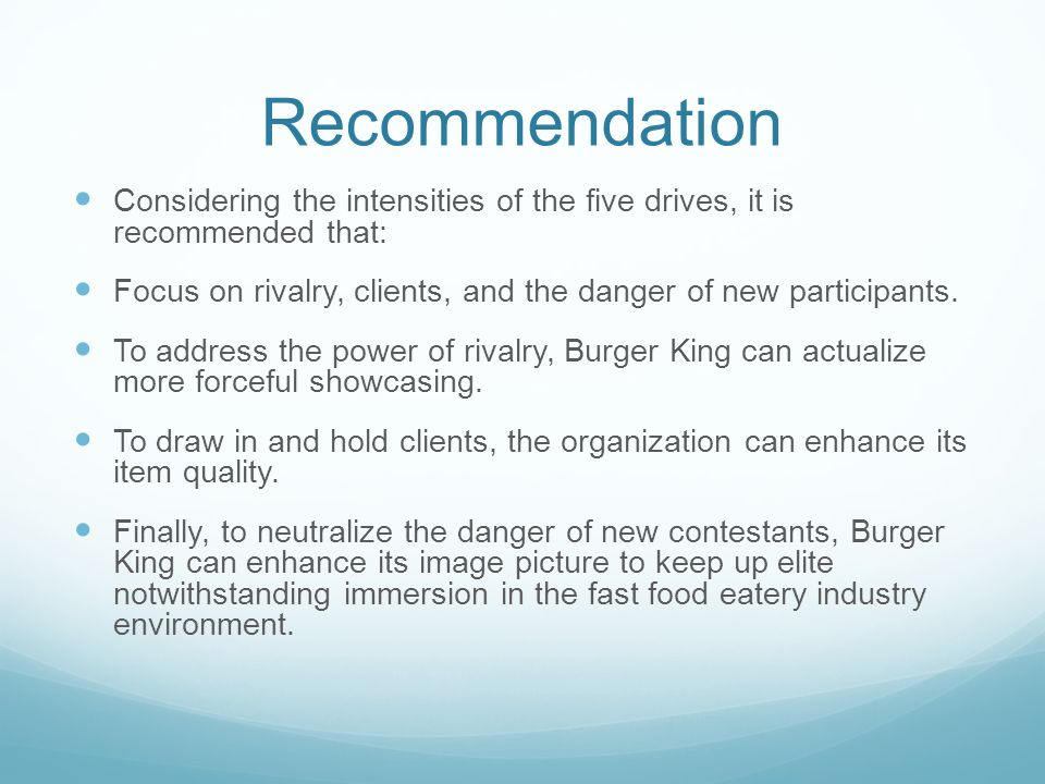 recommendation for fast food industry to Arguments that the junk food industry voluntarily and responsibly limits the  of  junk food to children as had been mentioned in recommendations made by the.