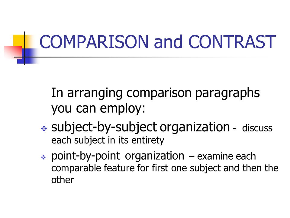 Two methods of arranging a comparison and contrast essay