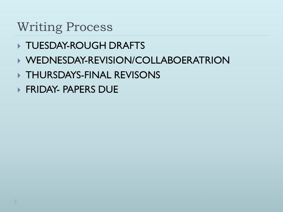 Writing Process TUESDAY-ROUGH DRAFTS