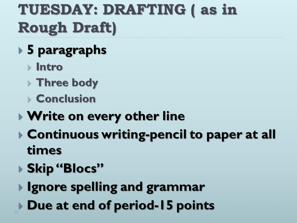 TUESDAY: DRAFTING ( as in Rough Draft)