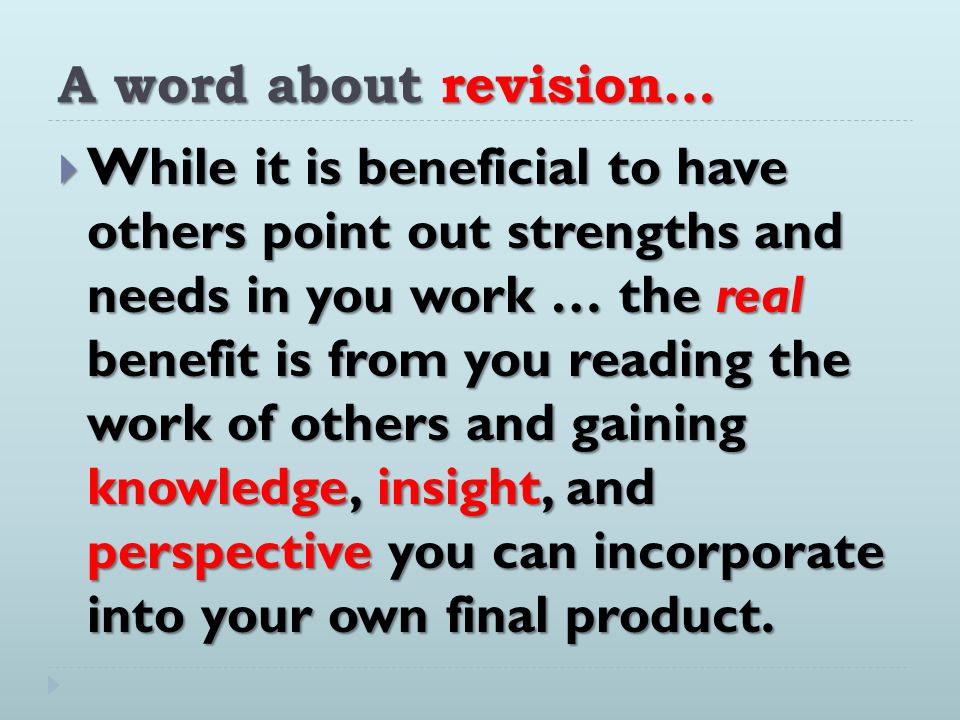 A word about revision…