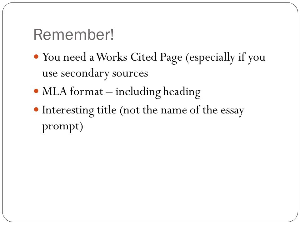 mla format essay prompt Formatically is a complete mla formatting tool for busy students back in school no experience with mla format is required to use formatically try it now for free.