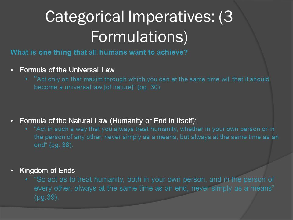 categorical imperative: formula of universal law essay Categorical imperative: formula of universal law ask whether your maxim is conceivable in a world ruled by the universal law: in a world where all 7 billion people earned zar 620 000 000  done a year's work (c) in order to get really, really rich (e).