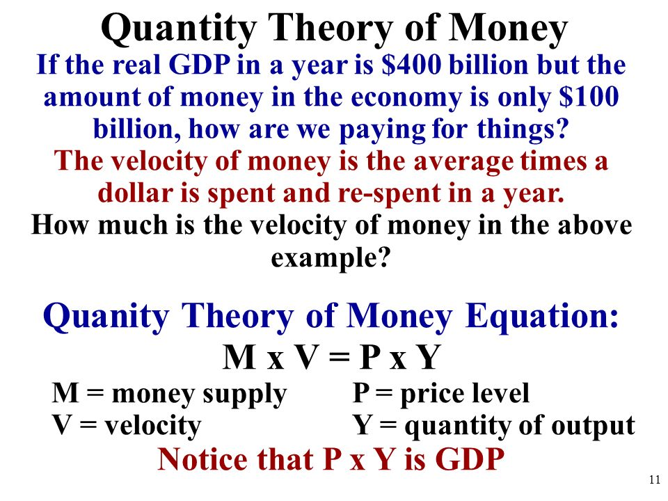 the constant velocity of money Velocity: money's second dimension the income velocity of money, v the assumption that the velocity of money is constant was deemed valid by the proponents.