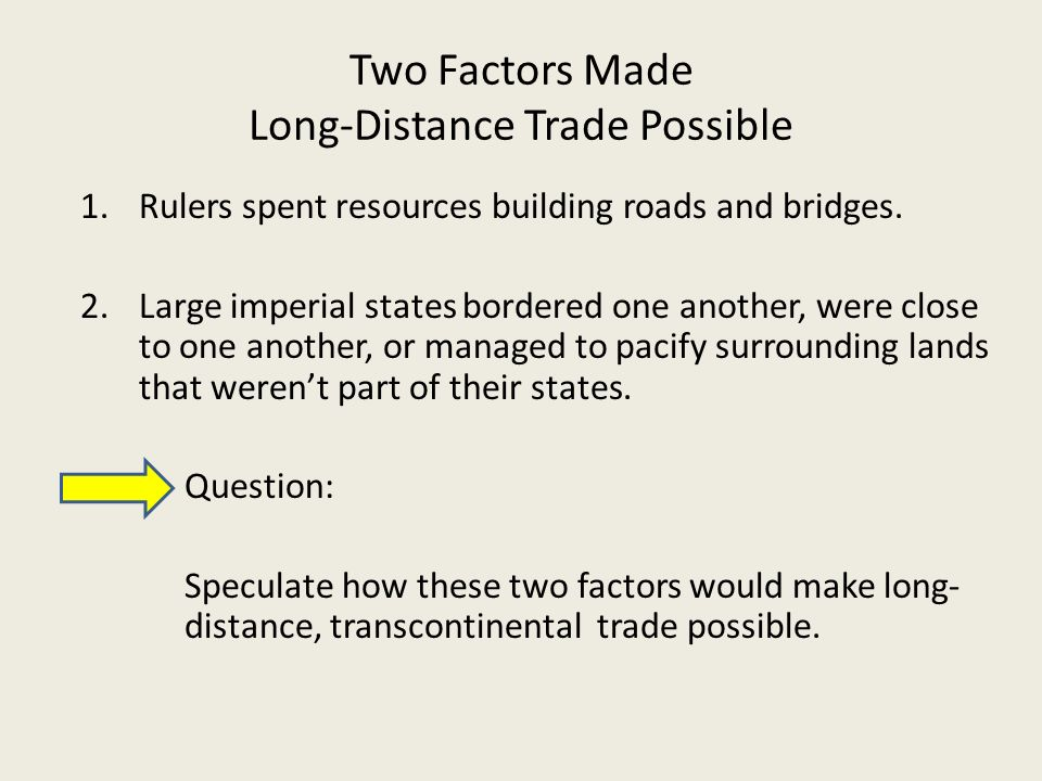 impacts of long distance trade Unit iii: 1450 - 1750 ce in the previous era (600-1450 ce), sometimes called the post-classical period, we explored the rise of new civilizations in both hemispheres, the spread of major religions that created cultural areas for analysis, and an expansion of long-distance trade to include european and african kingdoms.