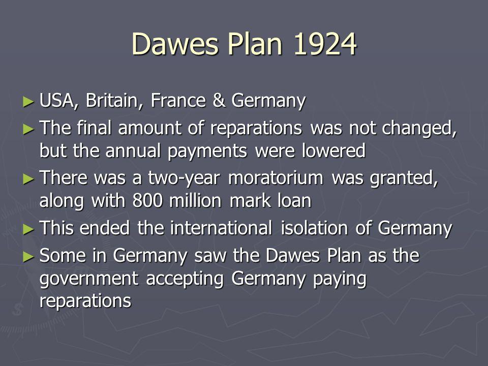 1924 the dawes plan Plan dawesa (od nazwiska  ich pełną podległość rzeszy niemieckiej oznaczało to w istocie wypowiedzenie układu londyńskiego z 16 sierpnia 1924.