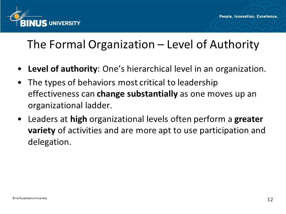 The Formal Organization – Level of Authority