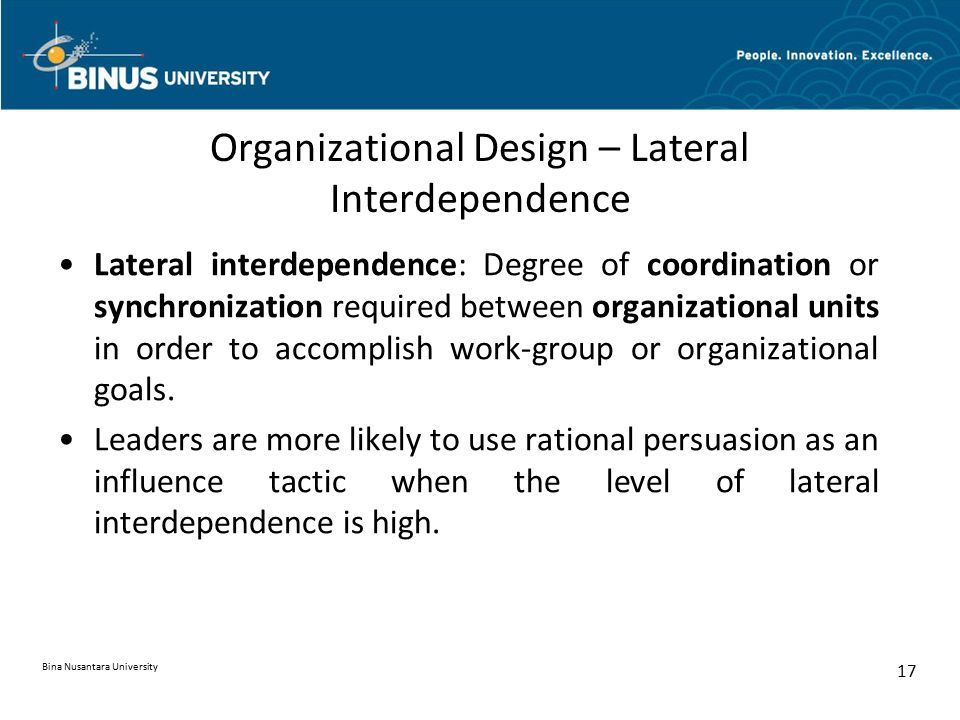 Organizational Design – Lateral Interdependence
