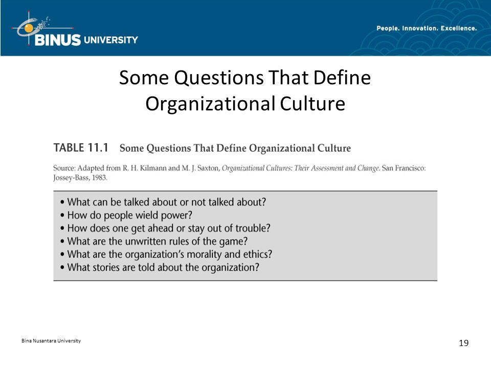 Some Questions That Define Organizational Culture