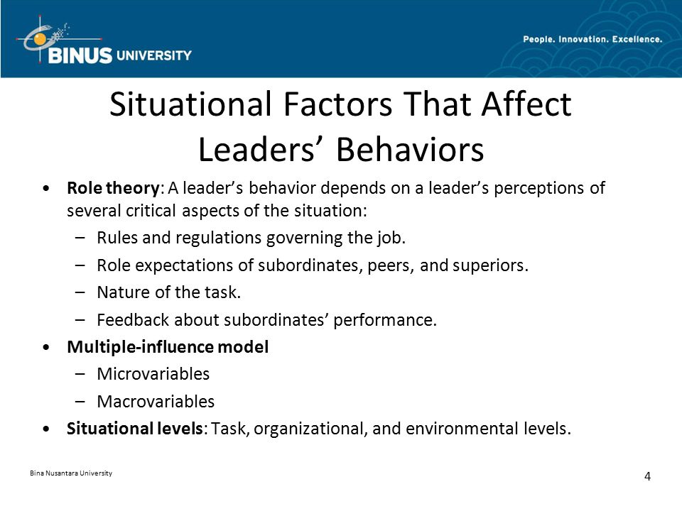 Situational Factors That Affect Leaders' Behaviors