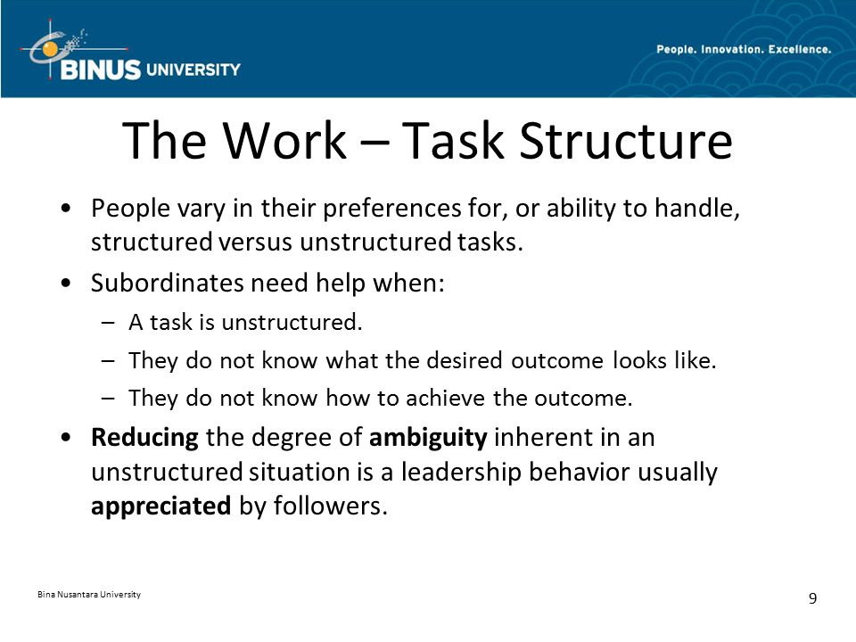 The Work – Task Structure
