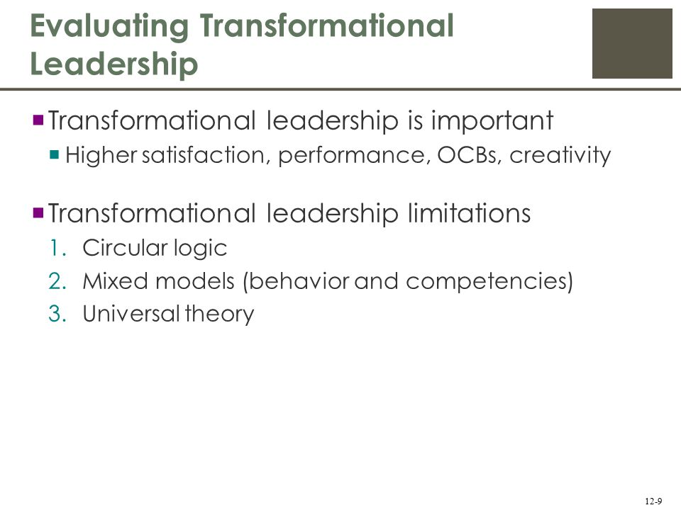 limitations of transformational leadership pdf