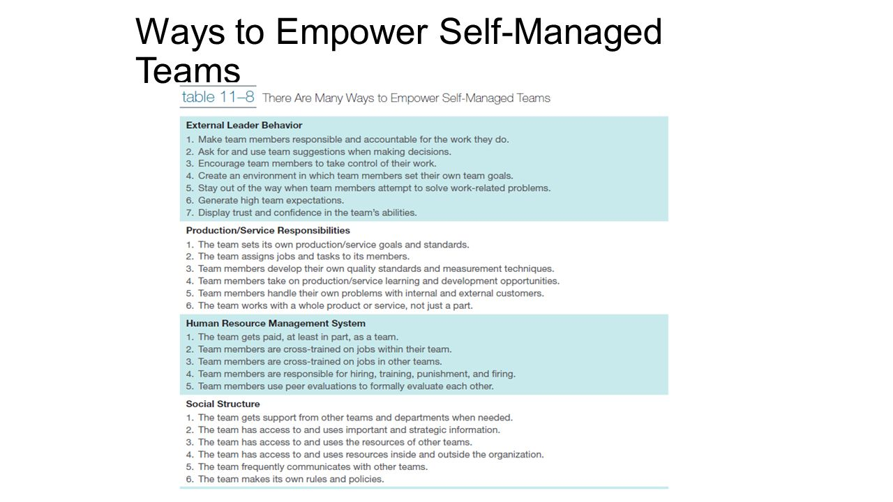 developing an effective self managed work team Self-directed teams are given autonomy over deciding how a job will be done   additional considerations for building an effective team are being identified.