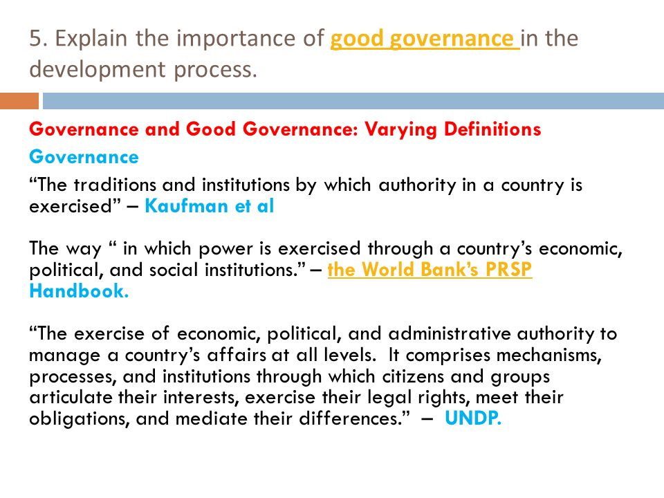 relationship between participatory development and good governance