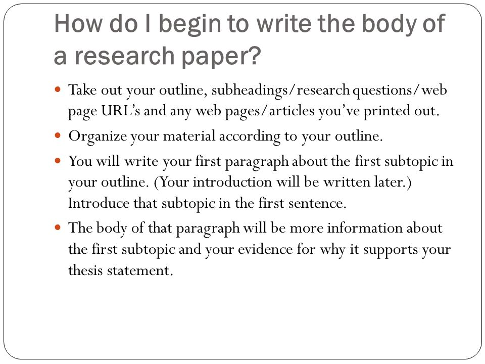write beginning research paper