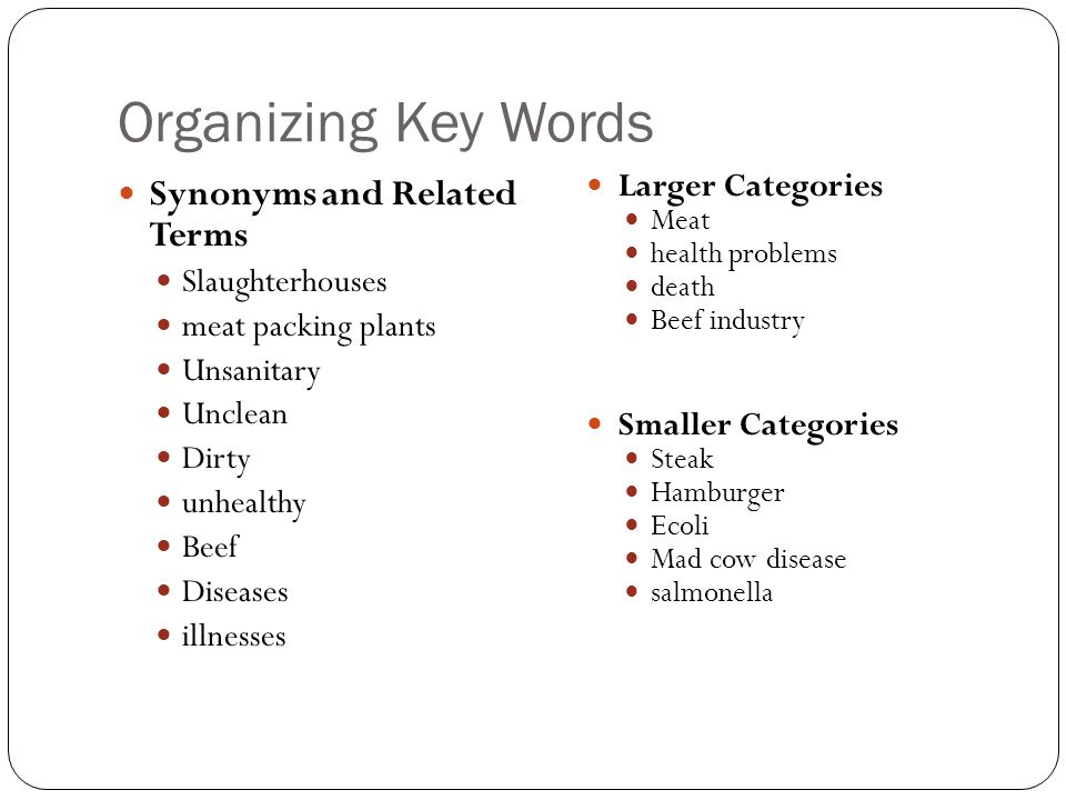 key terms in research paper Keywords are important words/concepts found in your research question or thesis a quick and dirty way to pull keywords from a research question/thesis is to choose the most important nouns all other words are irrelevant using keywords to search will always retrieve more results than phrases or sentences.