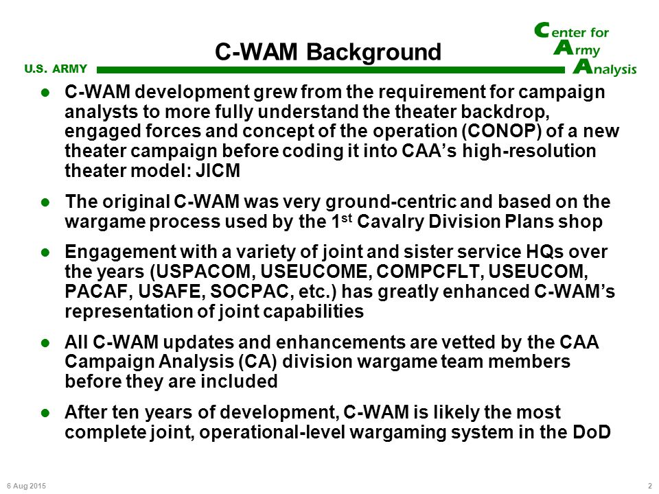 center for army analysis wargame analysis model (c-wam) - ppt, Powerpoint templates