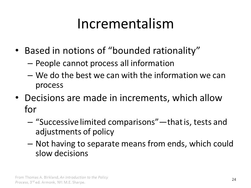 """decision making rational comprehensive incremental and Intelligence gathering — a comprehensive organization it does not seem strange that """"we ought to be trying for rational decision-making"""" incremental."""