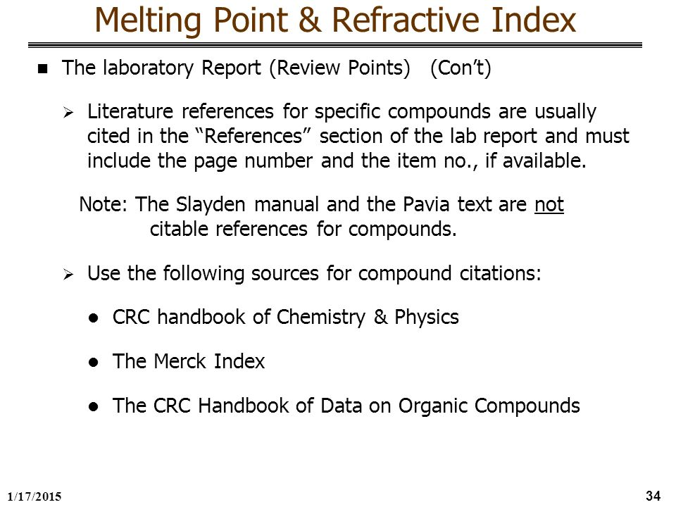 melting points lab report Experiment 2: recrystallization & melting point due: thin layer chromatography lab report (exp 1) lab reports are due at the beginning of your regular lab session come prepared you will get only one sample of phenacetin experimental details - part a.